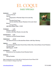 El Coqui Daily Specials